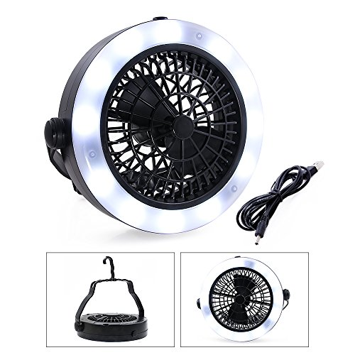 VEEPAE Camping Lantern, USB Powered or Battery Operated Fan, Tent Fan Light (2rd Generation), The Best Camping Gear for Truck Tent, Fishing, Emergencies, Hurricanes, Outages