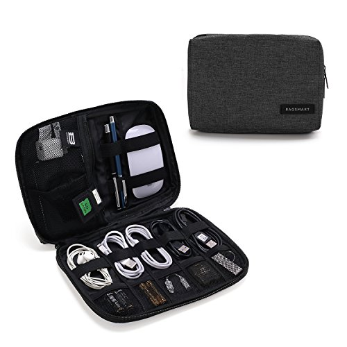 BAGSMART Electronic Organizer Small Travel Cable Organizer Bag for Hard Drives, Cables, Charger, USB, SD Card, Black