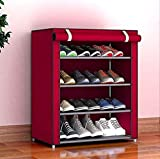 Aysis Multipurpose Portable Folding Shoes Rack 6 Tiers Multi-Purpose Shoe Storage Organizer Cabinet Tower with Iron and Nonwoven Fabric with Zippered Dustproof Cover-3D-PRINTED