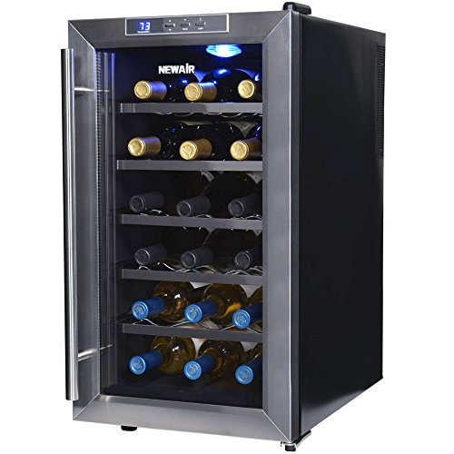 NewAir AW-181E 18 Bottle Thermoelectric Wine Cooler, Black