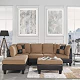 Product review for 3-Piece Modern Reversible Microfiber / Faux Leather Sectional Sofa Set w/ Ottoman (Saddle)
