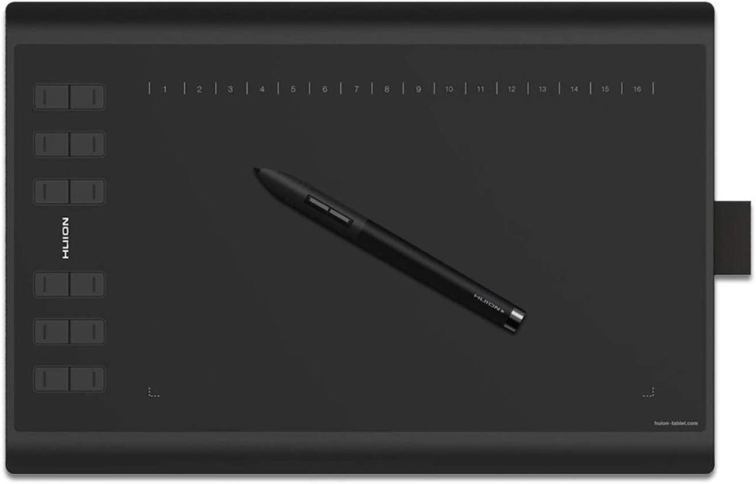 HUION H1060P Tablette de Dessin Graphique avec Zone de Travail de 10 x 6,25 Pouces, Stylet Sans Pile, Prise en Charge de Windows Mac Android, Idéal pour L'enseignement et le Travail en Ligne