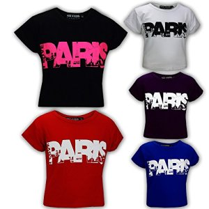 Kids Girls I Love Paris Print Fashion Crop Top Trendy T Shirt Age 7-13 Years