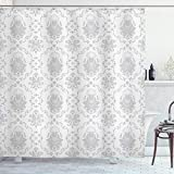 """Ambesonne Grey Shower Curtain, Classic Victorian Floral Patterns Tulips Nostalgic Romantic Modern in Vintage Style Bohemian, Cloth Fabric Bathroom Decor Set with Hooks, 75"""" Long, Grey"""