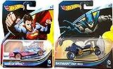 SuperBat - Batman Vs Superman Car Set - Hot Wheels Batbmobile Hot Rod & Man of Steel Character Cars from DC Universe 2015 Super Heroes