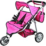 Mommy & Me Twin Doll Stroller with Free Carriage Bag - (Hot Pink)