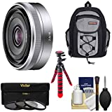 Sony Alpha E-Mount E 16mm f/2.8 Lens with Sling Backpack + 3 Filters + Flex Tripod + Kit for A7, A7R, A7S Mark II, A5100, A6000, A6300 Cameras