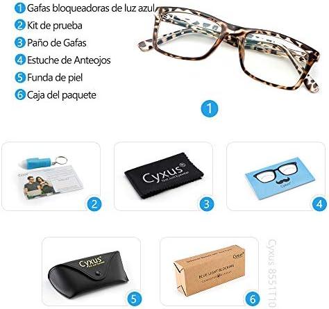 51u4UVJKmLL. AC  - Cyxus Filtro de Luz Azul Gafas de Computadora Anti Fatiga de Ojos Lentes Transparentes para Hombres y Mujeres Bloqueo UV #Amazon