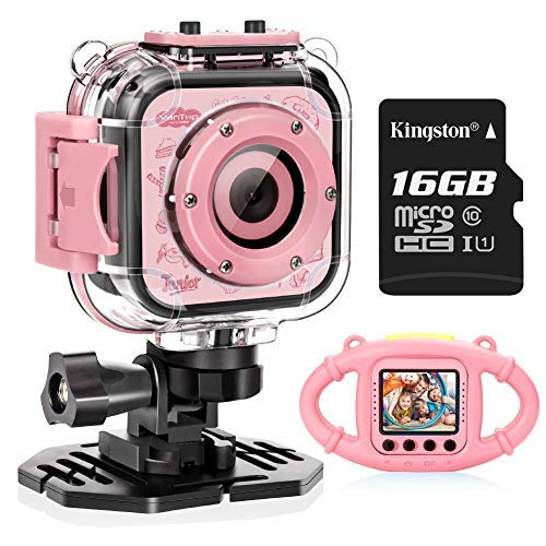VanTop Junior K3 Kids Camera, 1080P Supported Waterproof Video Camera w/ 16Gb Memory Card, Extra Kid-Proof Silicon Case