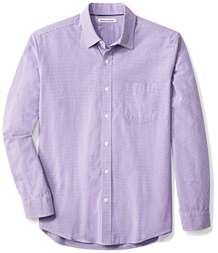 Amazon Essentials Men's Regular-Fit Long-Sleeve Casual Poplin Shirt, Purple Mini-Gingham, Medium