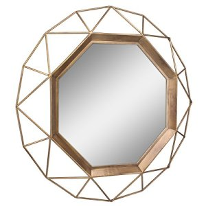 gold geometric mirror -modern boho living room