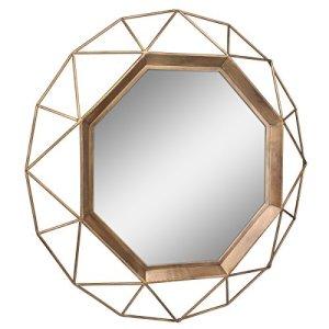 gold geometric mirror -modern boho living room