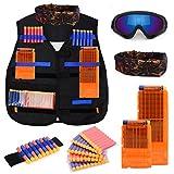 Forliver Kids Tactical Vest Kit, Kids Elite Tactical Vest Kit For Nerf N-strike Elite Series with 50 Refill Darts + 2 Reload Clips + Face Tube Mask + Protective Glasses