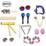 crayfomo 20 Pcs Kids Musical Instruments,Toddlers Percussion Toys, Wooden Rhythm Band Set, Included Maracas/Shaker Eggs/Wrist Bells/Hand bells/Triangle/Finger Castanets/Cymbals /Carrying Bag