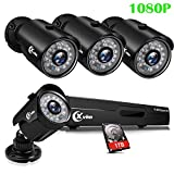 XVIM 8CH 1080P Security Camera System Home Outdoor 1TB Hard Drive Pre-Install CCTV Recorder 4pcs HD 1920TVL Upgrade Surveillance Cameras with Night Vision Easy Remote Access Motion Alert