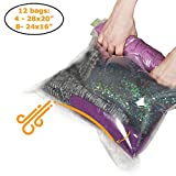 12 Travel Storage Bags for Clothes - Compression Bags for Travel - No Vacuum or Pump Sacks-Save Space in your Luggage Accessories