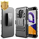 T-Mobile REVVL Case with [Tempered Glass Screen Protector], Alcatel A30 Fierce (MetroPCS) / Alcatel A30 Plus 5.5'' / Alcatel Walters, NageBee [Heavy Duty][Belt Clip Holster Kickstand] Combo Case-Black