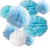 "18pcs Tissue Hanging Paper Pom-poms, Hmxpls Flower Ball Wedding Party Outdoor Decoration Premium Tissue Paper Pom Pom Flowers Craft Kit (Blue & White), 8""/ 10""/ 12"""
