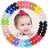 40pcs Baby Girls Clips 2' Grosgrain Boutique Solid Color Ribbon Mini Hair Bows Clips for Baby Girls Teens Infants Kids Toddlers Children Set of 20 pairs