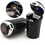 TAKAVU Car Ashtray, Easy Clean Up Detachable Stainless Car Ashtray with Lid Blue Led Light and Removable Lighter for Most Car Cup Holder (Silver)