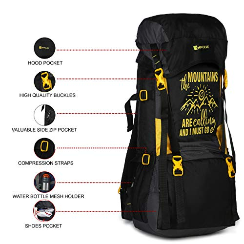 51uMQiZBoFL - Impulse Waterproof Travelling Trekking Hiking Camping Bag Backpack Series Mt. Calling 68.6 cms Yellow Rucksack