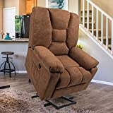 Esright Microfiber Power Lift Electric Recliner Chair with Heated Vibration Massage Sofa Fabric Living Room Chair with 2 Side Pockets, USB Charge Port & Remote Control, Brown
