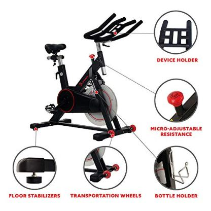 Sunny-Health-Fitness-Magnetic-Belt-Drive-Indoor-Cycling-Bike-with-44-lb-Flywheel-and-Large-Device-Holder-Black-Model-Number-SF-B1805