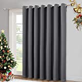 NICETOWN Patio Sliding Door Curtain - Wide Blackout Curtains, Keep Warm Draperies, Grey Sliding Glass Door Drapes (Gray, 100' W x 84' L)