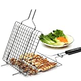 Product review for Premium Quality Aluminum Folding BBQ Barbecue Nonstick Grilling Basket Roast Folder Tool with Wooden Handle (1 Pcs)
