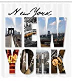 Ambesonne NYC Decor Shower Curtain Set, New York City Themed Collage Featuring with Different Areas of The Big Apple Manhattan Scenery, Bathroom Accessories, 69W X 70L Inches, Blue White