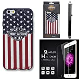 Harley Davidson iPhone 6s, iphone 6 Semi Rigid TPU Stars and Stripes USA Flag Cover with Tempered Glass Screen Guard and Stylus Pen.