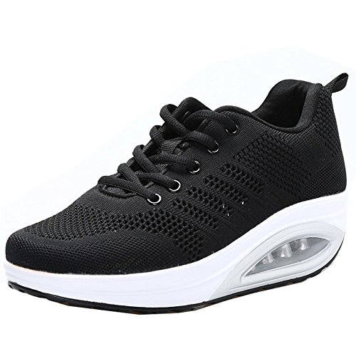 JARLIF Women's Comfortable Platform Walking Sneakers Lightweight Casual Tennis Air Fitness Shoes All Black US8.5