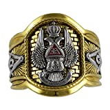 UNIQABLE Handcrafted Masonic Scottish Rite 33 Degree Ring 18K Gold PLD Yellow Version 22 Grams Templar BR-24 (14)