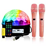 SMARTLEE 9 Color LED Magic Mirror Ball Stage Party Lights with 2 Wireless Microphone for Home and Outdoor Disco KTV Karaoke Bluetooth MP3 Speaker