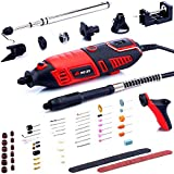NoCry 10/125 Professional Rotary Tool Kit with Heavy Duty 170W/1.4A Electric Motor, Universal 3-Jaw Chuck, 10 Attachments,125 Accessories & Storage Case Included