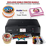 Mobile Deals Edible Birthday Cake Topper and Tasty Treats Image Printer Bundle - Includes Canon Wireless Printer, Edible Ink Cartridges and Sugar Sheets
