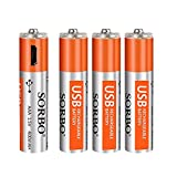 AAA Batteries - Rechargeable Triple A Lithium Batteries - Micro USB Charging Port, 1.5V/ 400mAh, Pre-Charged, 1000 Cycle - Not Alkaline/Ni-MH Batteries - 4/Pack