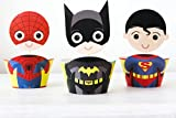 Batman Superman Spiderman Superhero Kids Cupcake Toppers Wrappers Party Decoration Party Supplies - Boy Birthday Party - Superhero Cake decoration - 12 Characters