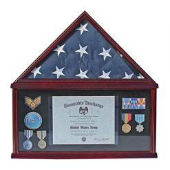 Large Military Shadow Box Frame Memorial Burial Funeral Flag Display Case
