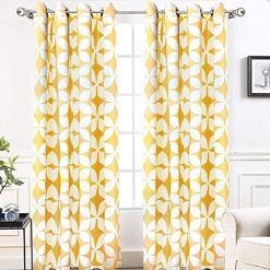 Amelia Yellow Geometric Curtains