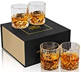 KANARS Double Old Fashioned Whiskey Glasses With Luxury Gift Box - Rocks Barware For Scotch, Bourbon and Cocktail Drinks - Set of 4