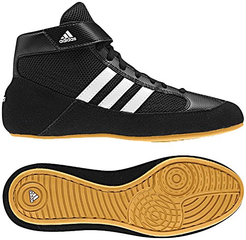 Adidas Men's Boy's HVC2 Wrestling Mat Shoe Ankle Strap (Black/White, 10)