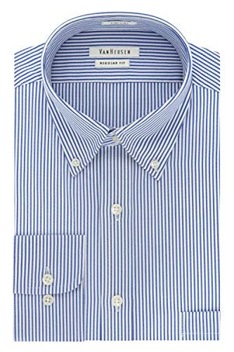 Van Heusen Men's Pinpoint Regular Fit Stripe Button Down Collar Dress Shirt, Blue, 16.5' Neck 32'-33' Sleeve