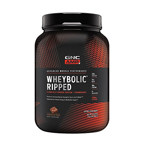 GNC AMP Wheybolic Ripped Whey Protein Powder, Chocolate Fudge, 22 Servings, Contains 40g Protein and 15g BCAA Per Serving