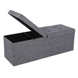 SONGMICS Storage Ottoman, 43″, Dark Gray