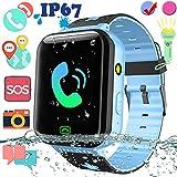2019 Upgraded Kid Smart Watch Phone GPS Tracker - IP67 Waterproof 1.5'' Touchscreen Smartwatch with SIM Slot SOS Anti-Lost Camera Flashlight Phone Wrist Watch Birthday Gift Back to School for Boy Girl
