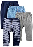 Simple Joys by Carter\s Baby Boys\ 4-Pack Pant, Navy/Stripes/Gray, 12 Months