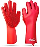 Magic SakSak Reusable Silicone Dishwashing Gloves | Pair Of Rubber Scrubbing Gloves For Dishes | Wash Cleaning Gloves With Sponge Scrubbers For Washing Kitchen, Bathroom, Car and More, Red, 14.5'