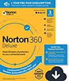 NEW Norton 360 Deluxe – Antivirus software for 3 Devices with Auto Renewal - Includes VPN, PC Cloud Backup & Dark Web Monitoring powered by LifeLock [PC/Mac/Mobile Download]