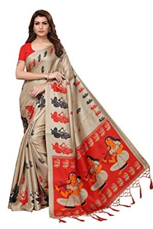 Anni Designer Indian Women's Kalamkari Silk Saree with Blouse Piece